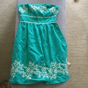 Teal strapless summer dress